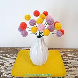 Felt craspedia flowers. Sunflower yellow, pastel purple, pink, coral alpaca wool pom pom flowers. Faux flower teacher gift. Small bouquet. 34
