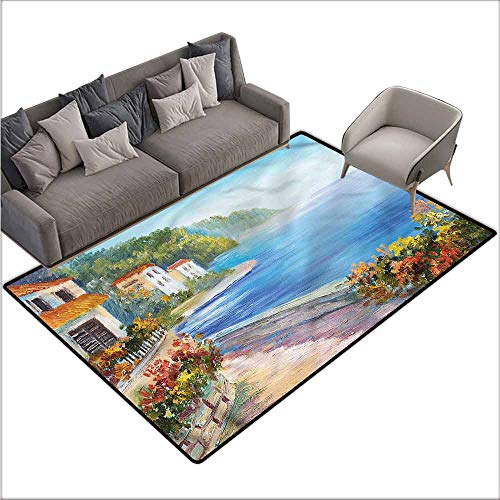 """Bathroom Rug Kitchen Carpet Seascape,House Colorful Flowers 60""""x 96"""",Bathroom mats and Rugs"""