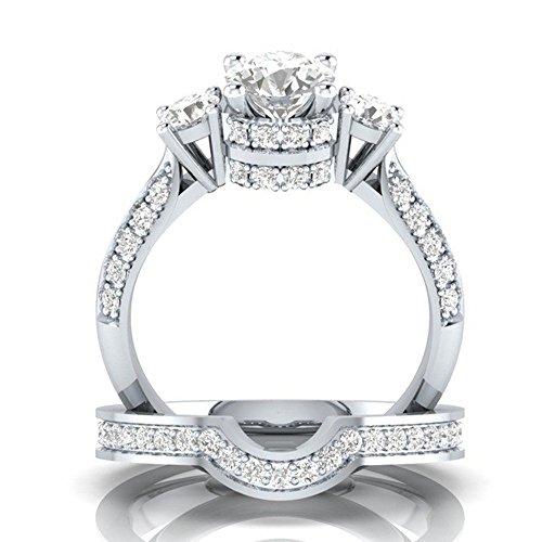 Goddesslili 2-in-1 Designed Zirconia Rings for Women Girlfriend Creative Set Ring Accessories Gemstone Vintage Large Wedding Engagement Anniversary Jewelry Gift Under 5 Dollars (9)