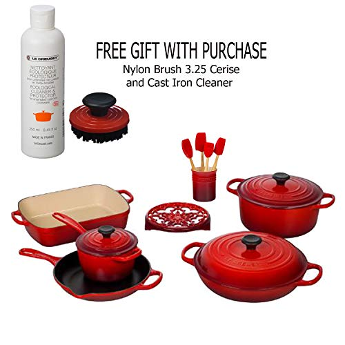Le Creüset Signature 16-Piece Cast Iron Cookware Set, Cerise with Nylon Brush 3.25-Inch Cerise and Cast Iron Cleaner, Gift With Purchase
