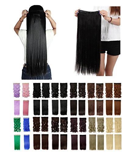 [Sexybaby Synthetic Fiber Straight 150G Clip in Hairpieces Extensions with 5 Clips (Natural Black,30] (2016 Womens Halloween Costumes Diy)
