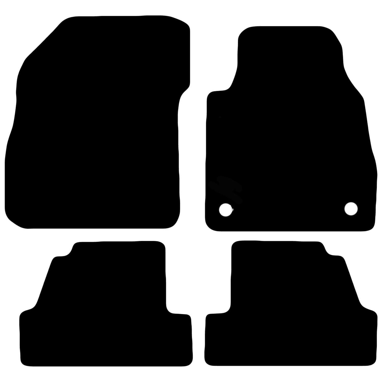4 Piece Set With 2 Clips Carsio Tailored Black Carpet Car Mats for Mokka 2012 onwards