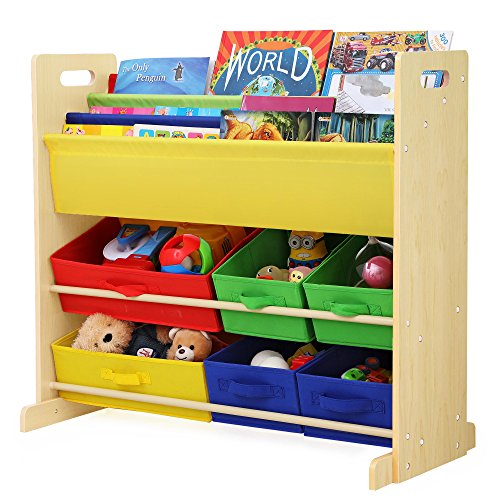 SONGMICS Kids Toy Storage Unit Sling Bookcase Rack With 6 Fabric Bins And 3 Tier Book Shelf Multicolor UGKR48Y