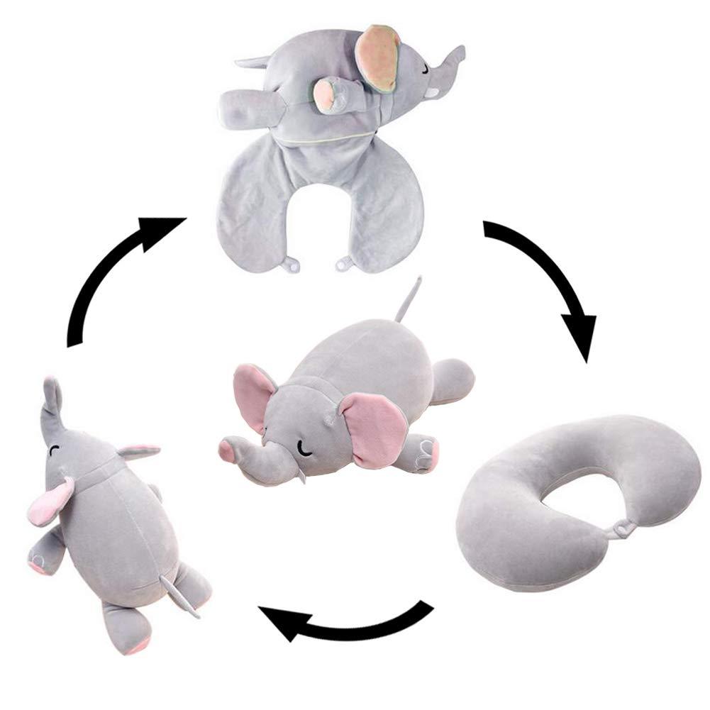 Yuccer Cuscino da Viaggio per Aereo in Memory Foam Neck Pillow Travel Cuscino per il Collo da Viaggio Soft Neck Support Cuscino Aereo Bus Auto treno e uso Domestico Stuffed Plush Toy Elefante