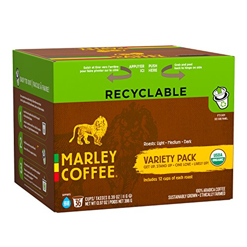 Marley Coffee, Marley Mixer Single Serve RealCup Organic Variety Pack for Keurig K-Cup Brewers, 36 - Brown N Gold