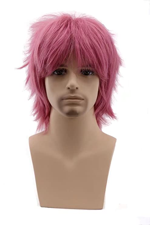 COSPLAZA Cosplay peluca corta rosa plata Anime full Pelucas De Pelo Sintético con Tapa