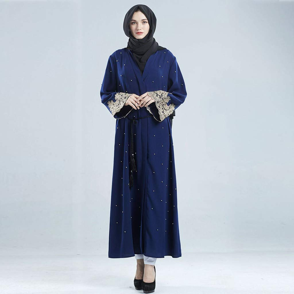 NPRADLA Large Falda Dubai Islámico Mujeres Open Kaftan Abaya ...