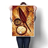 Best Stanley Magnifying Glasses - SCOCICI1588 Canvas Wall Art,Vintage Compass,Magnifying Glass,Pocket Watch,quill Pen Review