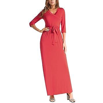 YAN Vestido de Mujer Vestidos de Mujer Vintage Cute Swing Dress - Cuello en V de