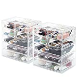 [2-Pack] Cosmetic Storage Organizer, EZOWare Acrylic Makeup Cosmetic 7 Drawer Display Storage Organizer Box Case for Jewelry, Cosmetics, Makeup, Beauty Products and more - Clear