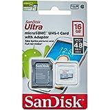 Cartão de Memória 16GB com Adaptador, SanDisk Micro SD, Preto