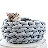 Braid Cat Cave,Cat Puppy Bed,Cat House,Cat Nest,Giant Knitted Cat Bed,Handmade Chunky Cat House,Chunky Knitted,Pet Furniture (Diameter-14inch, Light Grey)
