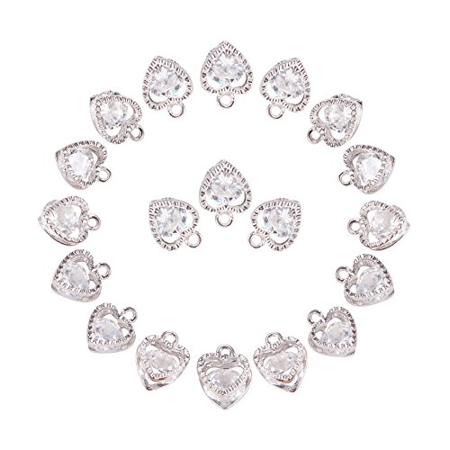 PH PandaHall 1Bag About 100 Pcs Cubic Zirconia Alloy Heart Shape Charms Sets for Jewelry Making Size 10x8.5x5mm Platinum (Heart Set Charms)