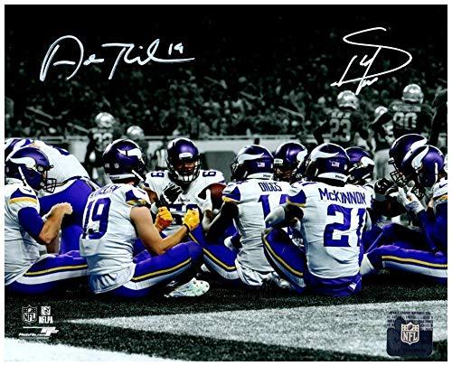(Total Sports Enterprises Stefon Diggs and Adam Thielen Autographed TD (Thanksgiving) Celebration Custom 16x20)