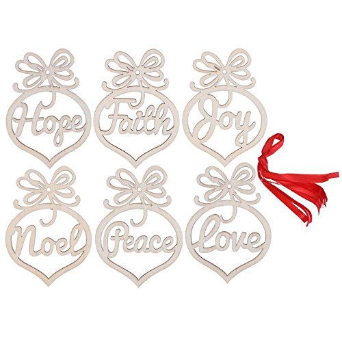 - Wooden Christmas Ornaments Noel Love Hope Joy Faith Peace / Wooden Christmas Hangers / Christmas Tree Decoration / Wooden Decor New Year (12 pieces)