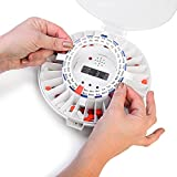 LiveFine-Automatic-Pill-Dispenser-W-Solid-White-Lids-Included-28-Day-Electronic-Medication-Organizer-with-Alerts-Flashing-Light-and-Safety-Latch-Dispenses-Prescriptions-Up-To-6-Times-Per-Day