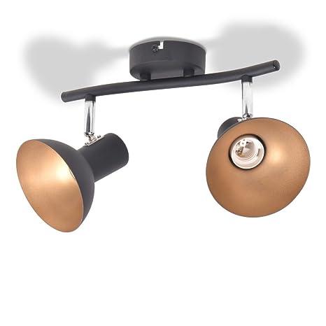 vidaXL Lámpara de Techo Moderna Industrial 2 Luces E27 Metal Negra y Dorada