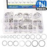 Glarks 470-Pieces Automotive Aluminum Metric Oil Drain Plug Gasket Washers Assortment Set Size is M6 - M24