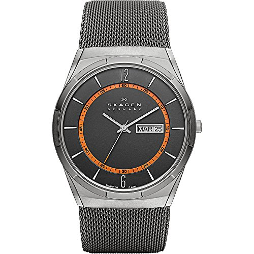 Skagen Men Titanium Black Mesh Watch (Skagen Men's SKW6007 Melbye Grey Titanium Mesh)