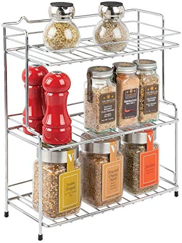 mDesign Modern Metal 3-Tier Kitchen Countertop and Pantry Cabinet Storage Shelf Organizer Stand for Storing Mugs, Spice Jars, Baking Supplies, Coffee, Tea – Free Standing, 3 Shelves – Chrome