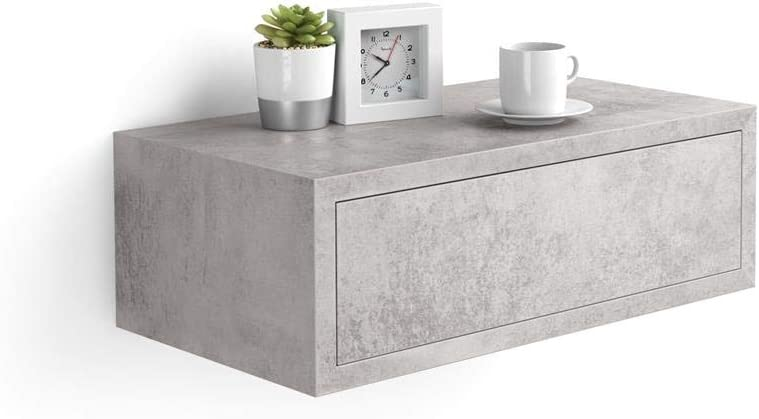 Mobili Fiver, Riccardo Bedside Table, Grey Concrete, Laminate-Finished, Made in Italy