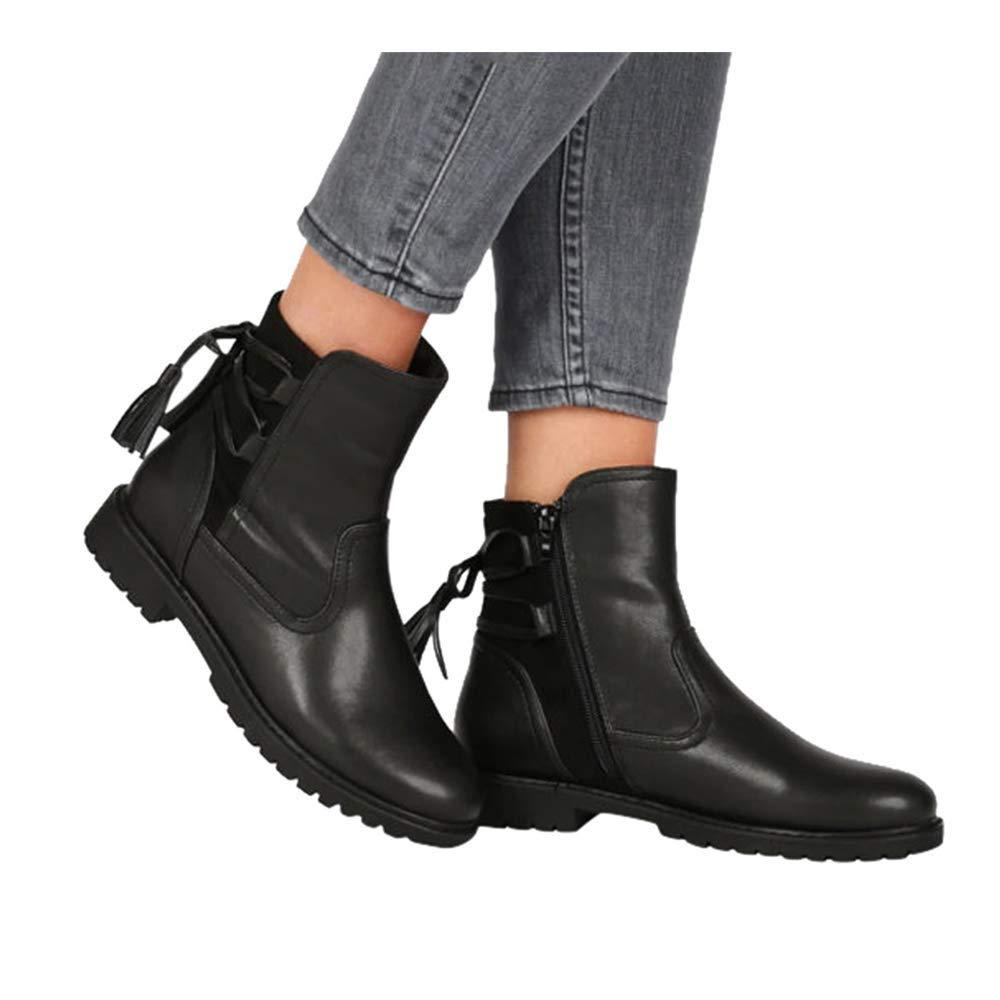 Low Heel Ankle Booties for Women Fall Winter Slip On Pointed Toe Side Zipper Western Shoes (US:9.0, Black) by sweetnice Women Shoes