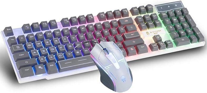 Guanwen toetsenbord en muis set Bedraad spel regenboog licht
