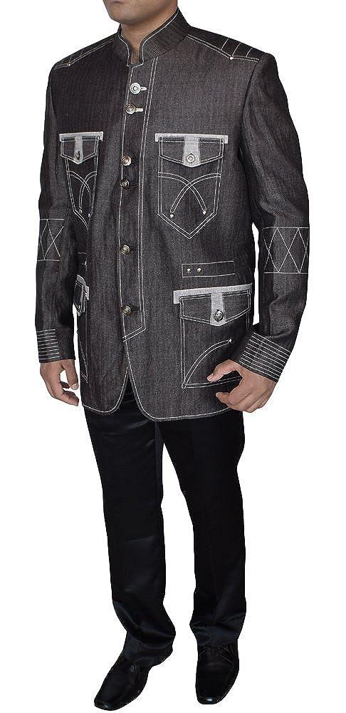INMONARCH Mens Trendy Gray Outstanding Look Mandarin Blazer Ready to Ship TX10292Z