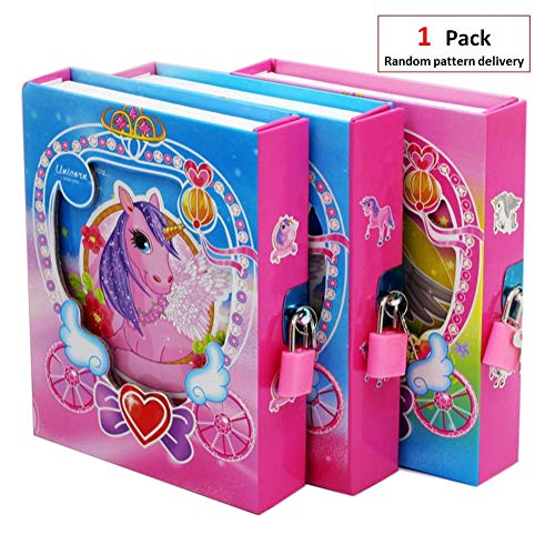 EIXJA Unicorn Notebook Secret Unicorn Diary with Lock and Key Birthday Gifts for Girls 3 4 5 6 7 8 9 10 11 Years Old Perfect Unicorn Gifts, 1 Pack of Set, Random Pattern delivery