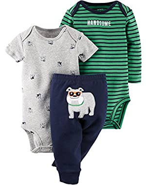 Carters Baby Boys 3-pc. Handsome Bodysuit Set 9 Month Navy blue/green/grey