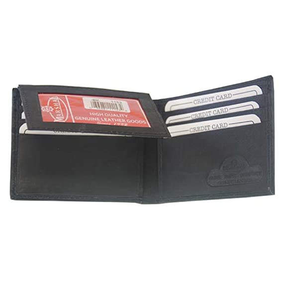 Bio-fold Mens Black Smooth Leather Genuine Leather Wallet