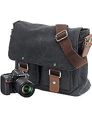 Neumora Camera Bag Messenger Bag with Shockproof Insert & Tablet Pocket for Sony Canon Nikon (Black)
