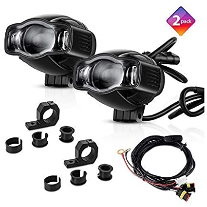 amazon com tsialee 4\u201d 20w motorcycle headlights, led auxiliarytsialee 4\u201d 20w motorcycle headlights, led auxiliary lights with metal brackets, aluminum casting