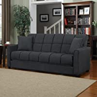 Baja Convert-a-couch Sofa Sleeper Bed Charcoal Gray Sofa Converts Into a Full-size Bed and Seats 3 Comfortably