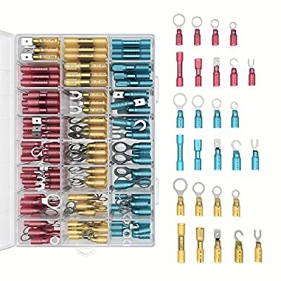 Heat Shrink Wire Connectors Kit: 270 PC Variety of Waterproof Electrical Crimp Terminals - Automotive & Marine Use. Adhesive Lined Tubing In Red Blue Yellow Butt Fork Hook Ring & Quick Disconnects Set