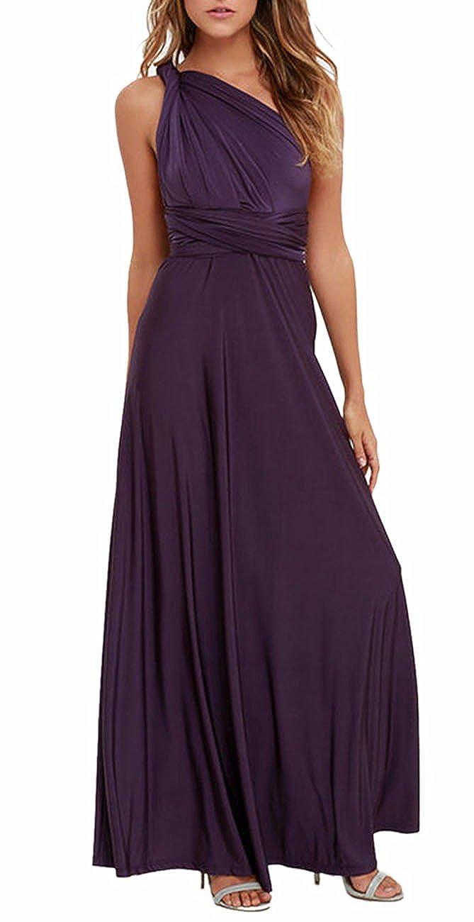 TALLA XL. EMMA Mujeres Falda Larga de Cóctel Vestido de Noche Dama de Honor Elegante sin Respaldo Morado Oscuro XL