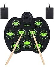 Tambor Portátil Conjunto de Batería Electrónica - ammoon Digital Enrollar Sensible al Tacto Kit de Batería de Práctica 9 Pastillas de Batería 2 Pedales de Pie para Niños Principiantes (Sin Altavoces)