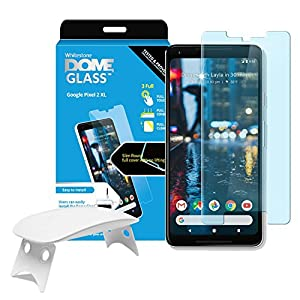 Dome Glass Google Pixel 2 XL Screen Protector Tempered Glass Shield, [Liquid Dispersion Tech] 2.5D Edge of screen Coverage, Easy Install Kit and UV Light by Whitestone for Google Pixel 2 XL (2017)