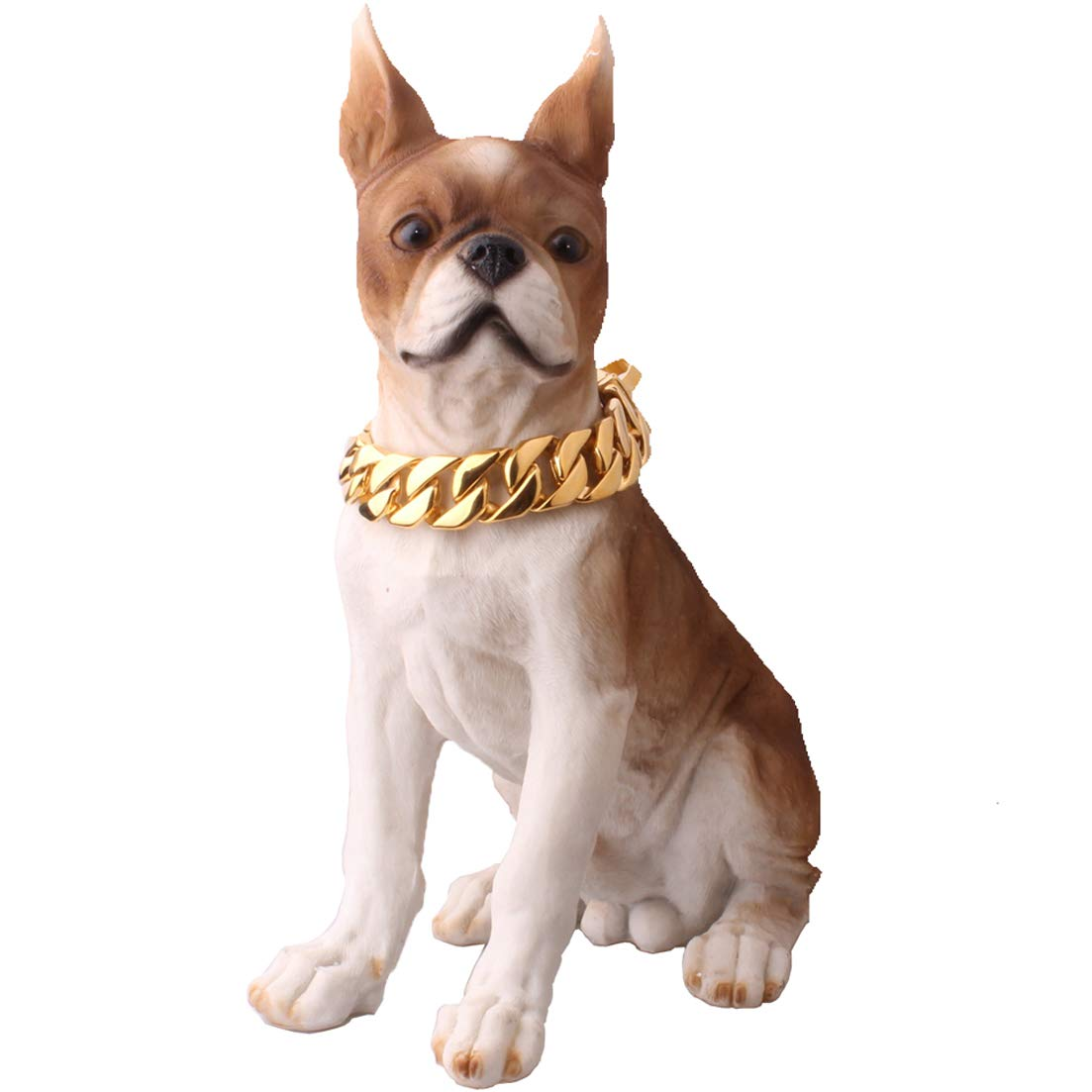FML PET Premium 316L Stainless Steel Dog Training Choke Collar, 30mm Wide Cuban Chain Necklace for Pit Bull Mastiff Bulldog Big Breeds, Up to 680 lbs Dogs - Gold