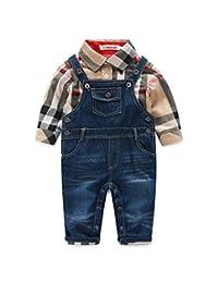 Beide Baby Boys Outfits Long Sleeve Plaid Bodysuit + Jean Pant