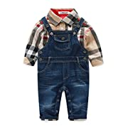 Beide Baby Boys Outfits Long Sleeve Plaid Bodysuit + Jean Pant (0-3M, Khaki)