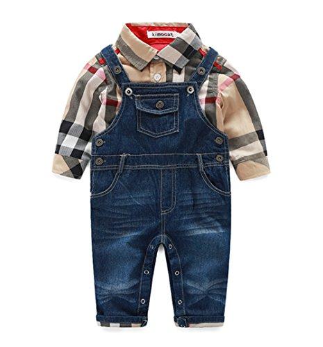 (Beide Baby Boys Outfits Long Sleeve Plaid Bodysuit + Jean Pant (12-18M, Khaki))