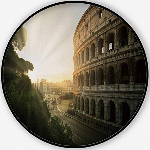 ALUONI Rome Colosseum at Sunrise in Rome Colorful Round Mat, Cute Floor Mat,Italy for Kid's Room,6'Round (Best Place To See Sunrise In Rome)