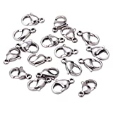 Pandahall 100PCS Grade A 304 Stainless Steel Lobster Claw Clasps, Stainless Steel Color, 13x8mm