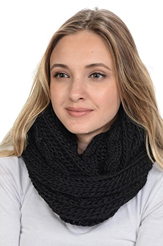 (Basico Women Winter Chunky Knitted Infinity Scarf Warm Circle Loop Various Colors (Braids Black))