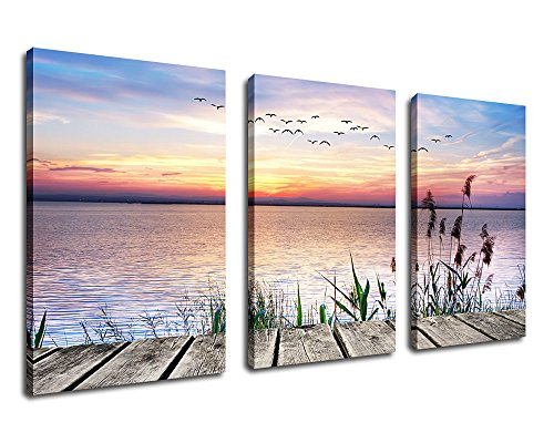 Framed Canvas Art Sunset Lake Flying Birds Wall Art Decor - 3 Piece 30