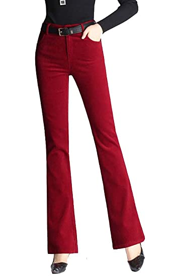 02f782336ac SELX Women Plus Size High Waist Stretch Corduroy Flared Pants Red 32 ...