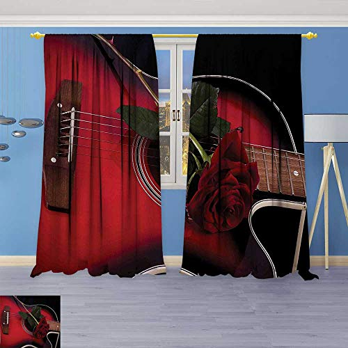 Philiphome Blackout Burgundy Curtains Black Spanish Musician Portugal Hand Made Guitar with Romance Theme Love Rose Ruby for Bedroom/Living Room 80% Privacy Panel (Guitar Triple Deck)