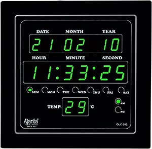 Ajanta Digital Wall Clock Green LED,Black Body,with Glass (25.4 cm x 25.4 cm x 3 cm, Black)