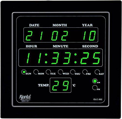 Ajanta Quartz Digital Green LED Square Wall Clock OLC – 302 (25.4 cm x 25.4 cm x 3.5 cm)